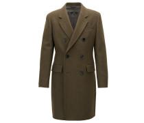 Zweireihiger Slim-Fit Mantel aus meliertem Woll-Mix