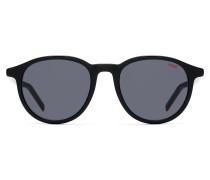 Unisex round sunglasses in multi-layer acetate