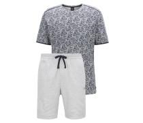 Pyjama aus Interlock-Baumwolle mit Blumen-Print