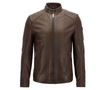 Slim-Fit Bikerjacke aus leicht gewachstem Leder
