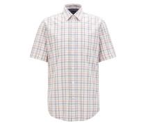 Regular-Fit Kurzarm-Hemd aus Fil-à-Fil-Baumwolle
