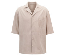 Regular-Fit Hemd aus Veloursleder