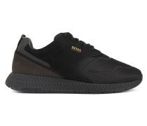Sneakers aus Nubukleder und Material-Mix im Laufschuh-Stil