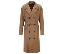Zweireihiger Relaxed-Fit Mantel aus Schurwoll-Twill