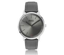 Unisex-Uhr aus Edelstahl mit grauem Zifferblatt