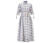 6ebd4e509831ca Kariertes Hemdblusenkleid aus Leinen mit Baumwolle