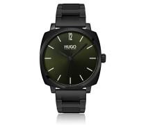 Quadratische Uhr aus schwarz beschichtetem Edelstahl