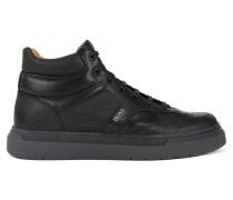 Hightop Sneakers aus Leder mit geprägtem Einsatz