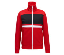 Gestreifte Slim-Fit Sweatjacke aus Material-Mix