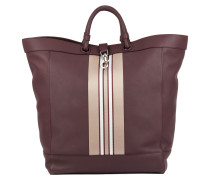 Large tote bag in leather with striped trim