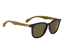 Sonnenbrille aus Acetat mit Holzbügeln