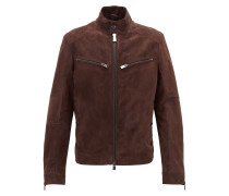 Regular-Fit Bikerjacke aus Metis-Veloursleder