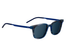 Blue-horn acetate sunglasses with ultra-thin blue temples