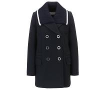 Zweireihiger Mantel aus gebondetem Twill im Marine-Look