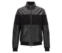 Regular-Fit Jacke aus Leder und Veloursleder