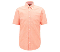 Slim-Fit Kurzarm-Hemd aus Baumwolle mit Leinen