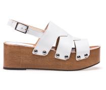 Plateau-Sandalen aus Leder mit Nieten-Details