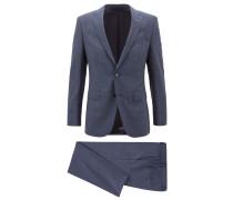 Gemusterter Slim-Fit Anzug aus Schurwoll-Serge