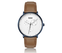 Uhr mit strukturiertem Lederarmband