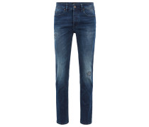 Tapered-Fit Jeans aus überfärbtem Stretch-Denim