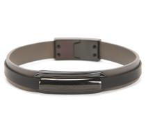 Mehrlagiges Armband aus Leder mit Logo-Plakette