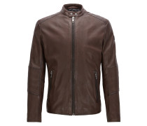 Slim-Fit Jacke aus behandeltem Leder