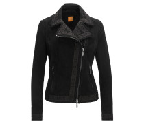 Regular-Fit Jacke aus gebondetem Veloursleder