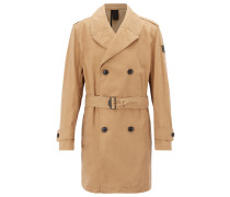 Regular-Fit Trenchcoat aus gewachstem Baumwoll-Mix