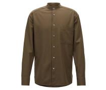 Relaxed-Fit Hemd aus Baumwoll-Twill mit Stehkragen