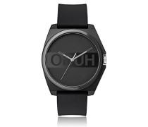 Schwarze Unisex-Uhr mit Reversed-Logo