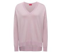 Oversized Pullover aus Seiden-Mix mit V-Ausschnitt