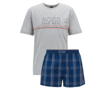 Kurzer Pyjama aus Single Jersey mit Logo-Details