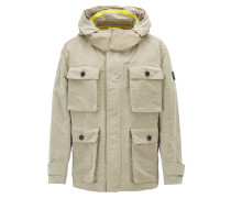 Relaxed-Fit Parka aus gewachstem Material-Mix