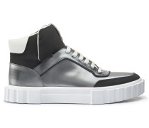 Hightop Sneakers mit Metallic-Finish und Schnürung