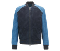 Slim-Fit College-Jacke aus Veloursleder und Denim