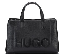 Leather tote bag with embossed logo