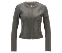 Kragenlose Jacke aus elastischem Leder