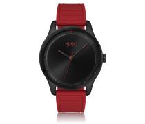 Uhr aus Edelstahl mit rotem Silikon-Armband