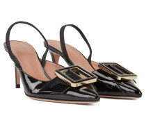 Slingbacks aus Lackleder