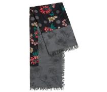 Schal mit Blumen-Print und Bordüre aus Seide
