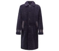 Relaxed-Fit Mantel aus Lammfell mit Lederbesätzen
