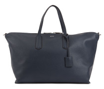 Weekend holdall in grained Italian leather with lock closure