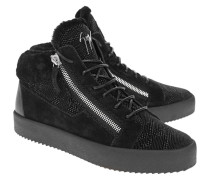 High-Top Leder-Sneaker mit Fell