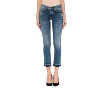 Acid Wash Skinny Jeans mit offenem Saum