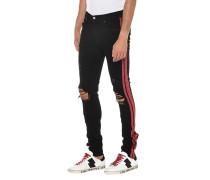 Jeans mit Glitzer-Streifen