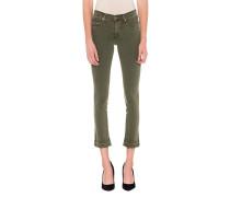 Skinny-Jeans mit Fransen-Saum