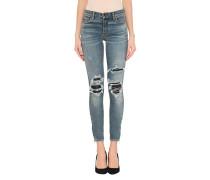 Destroyed-Skinny-Jeans mit Leder-Details