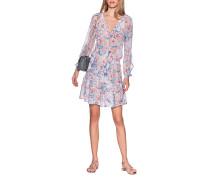 Gemustertes Kleid mit Volants-Saum
