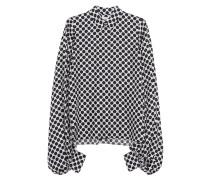 Seiden-Bluse mit Polka Dots und Ballon-Ärmeln