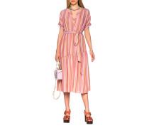 Gestreiftes Kleid mit Binde-Gürtel